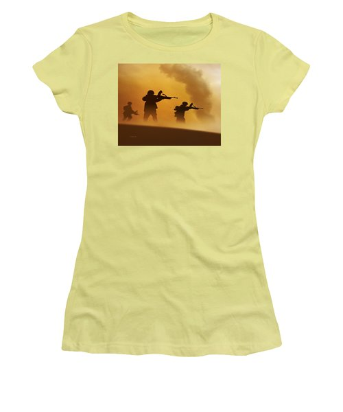 Women's T-Shirt (Junior Cut) featuring the digital art Ww2 British Soldiers On The Attack by John Wills