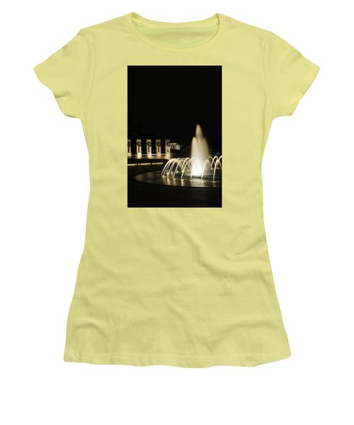 Women's T-Shirt (Athletic Fit) featuring the photograph Wwii Memorial Fountain by Angela DeFrias