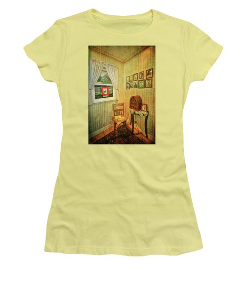 Women's T-Shirt (Athletic Fit) featuring the photograph Wwii Era Room by Lewis Mann