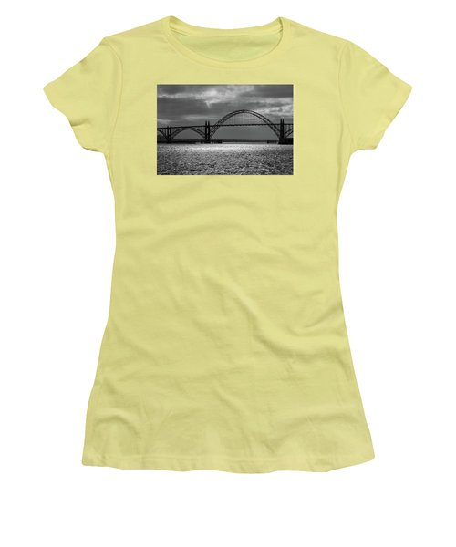 Yaquina Bay Bridge Black And White Women's T-Shirt (Athletic Fit)