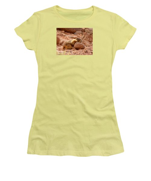 Yellow Bellied Marmot Capitol Reef Utah Women's T-Shirt (Athletic Fit)