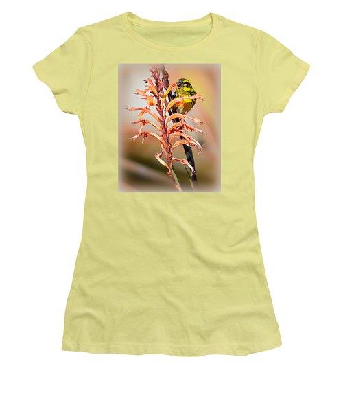 Women's T-Shirt (Junior Cut) featuring the photograph Yellow Bird Hi by AJ Schibig