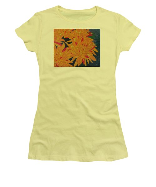 Women's T-Shirt (Junior Cut) featuring the painting Yellow Chrysanthemums by Hilda and Jose Garrancho