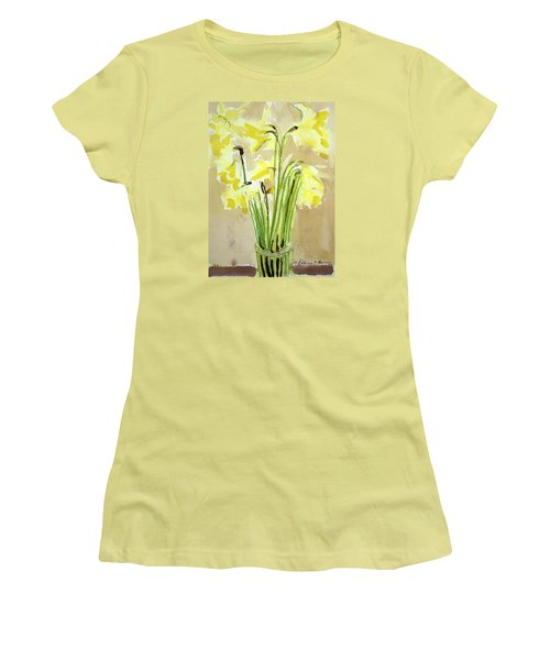 Yellow Flowers In Vase Women's T-Shirt (Athletic Fit)