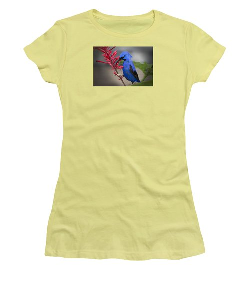 Women's T-Shirt (Junior Cut) featuring the photograph Yellow Legged Honey Creeper by Penny Lisowski