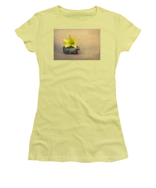 Women's T-Shirt (Junior Cut) featuring the photograph Yellow Lily And Green Bottle by Tom Mc Nemar