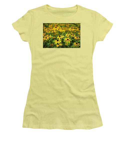 Yellow Painted Petals Women's T-Shirt (Athletic Fit)