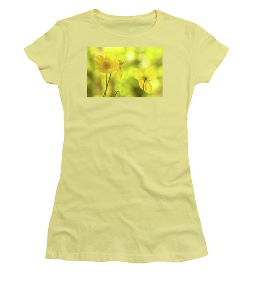 Women's T-Shirt (Junior Cut) featuring the photograph Yellow Poppies - California Poppy Flower by Peggy Collins