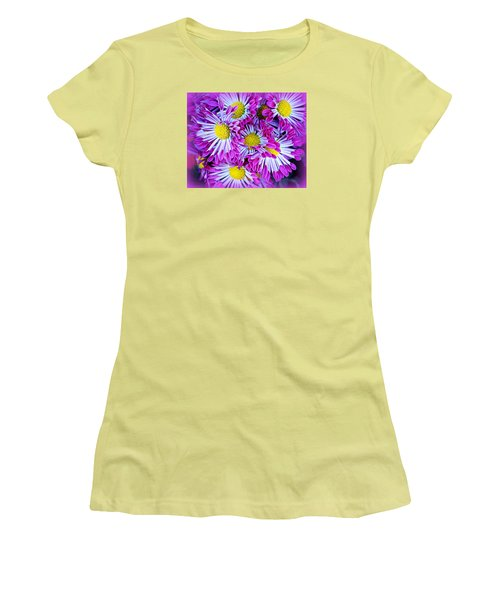 Yellow Purple And White Women's T-Shirt (Junior Cut) by AJ  Schibig