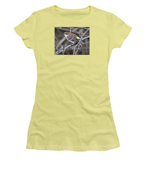 Women's T-Shirt (Junior Cut) featuring the photograph Yellow-rumped Warber In Fall Colors by Ricky L Jones