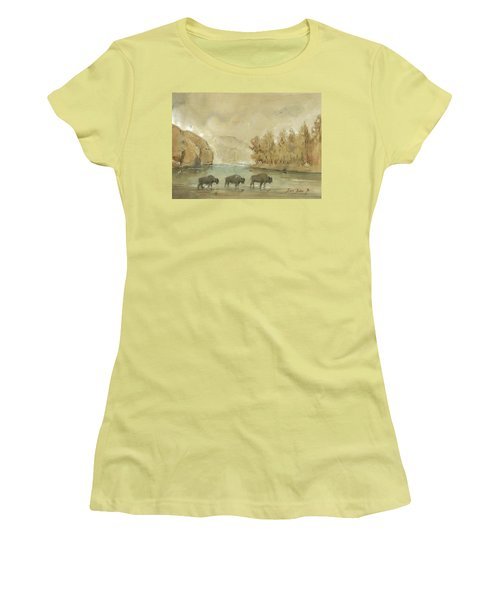 Yellowstone And Bisons Women's T-Shirt (Junior Cut) by Juan Bosco