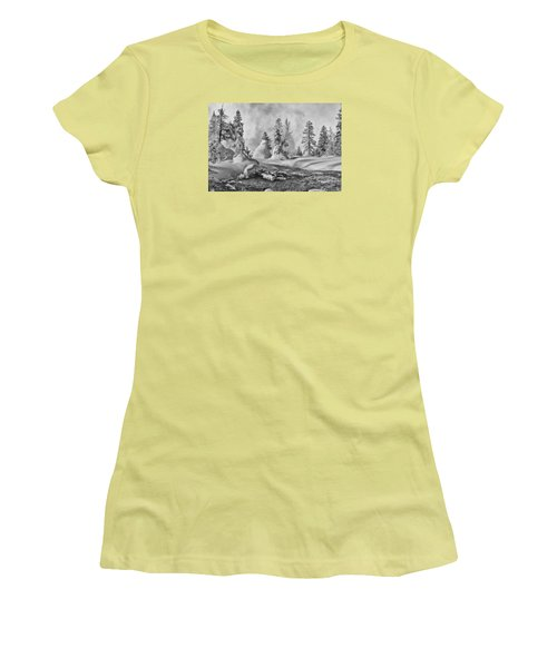 Women's T-Shirt (Junior Cut) featuring the photograph Yellowstone In Winter by Gary Lengyel