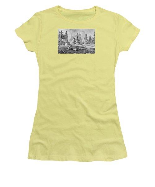 Yellowstone In Winter Women's T-Shirt (Junior Cut) by Gary Lengyel