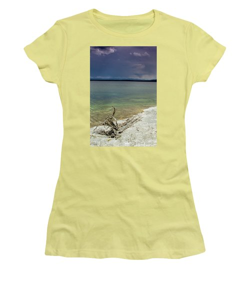 Women's T-Shirt (Junior Cut) featuring the photograph Yellowstone Lake by Dawn Romine
