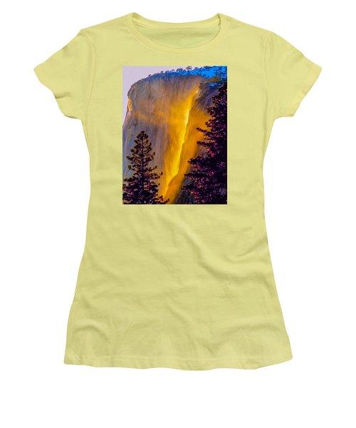 Yosemite Firefall Painting Women's T-Shirt (Junior Cut) by Dr Bob Johnston