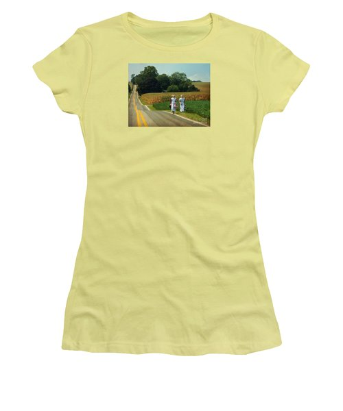Young Amish Woman Barefoot Stroll Women's T-Shirt (Athletic Fit)