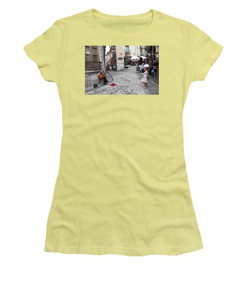 Women's T-Shirt (Junior Cut) featuring the photograph Young Girl Listening To Guitar - Grenada - Spain by Madeline Ellis