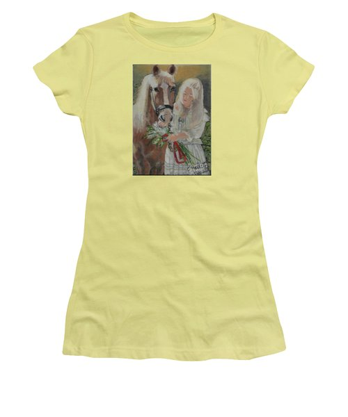 Young Woman With Horse Women's T-Shirt (Junior Cut) by Francine Heykoop