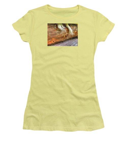 Women's T-Shirt (Junior Cut) featuring the pyrography Yury Bashkin Rustic Wall by Yury Bashkin