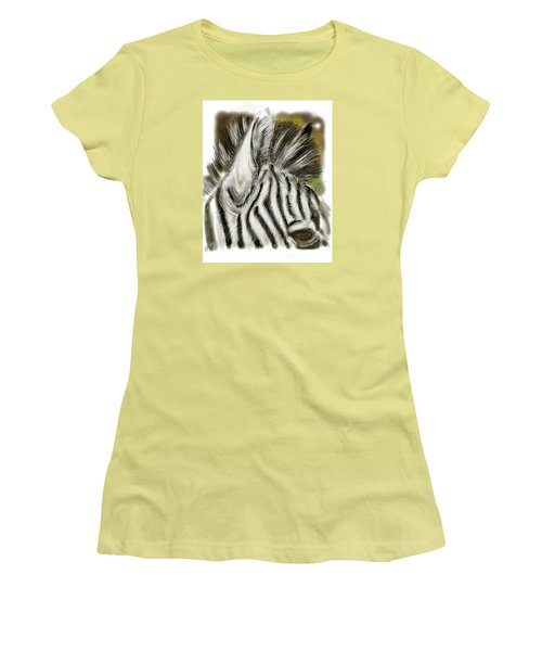 Women's T-Shirt (Athletic Fit) featuring the digital art Zebra Digital by Darren Cannell