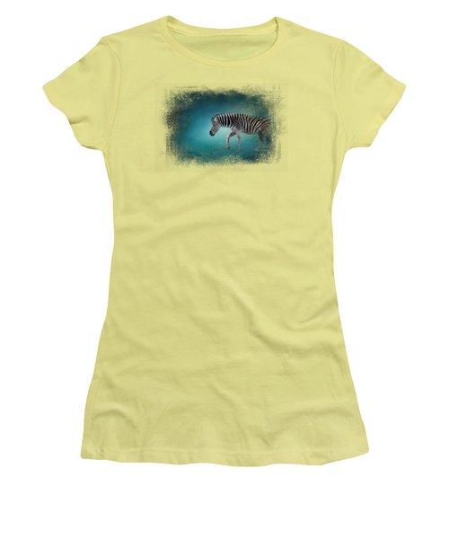 Zebra In The Moonlight Women's T-Shirt (Junior Cut) by Jai Johnson