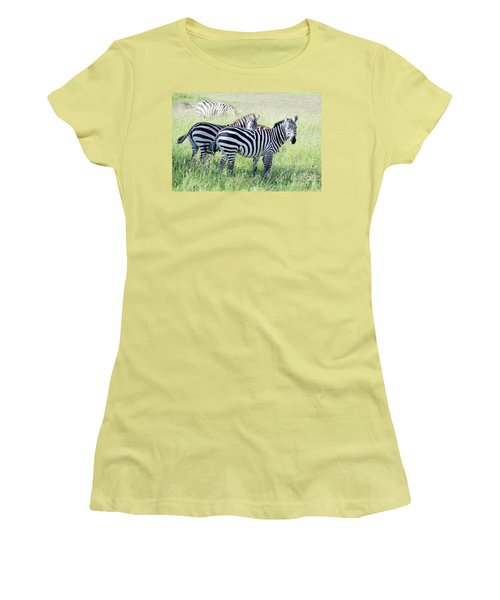 Zebras In Serengeti Women's T-Shirt (Junior Cut) by Pravine Chester