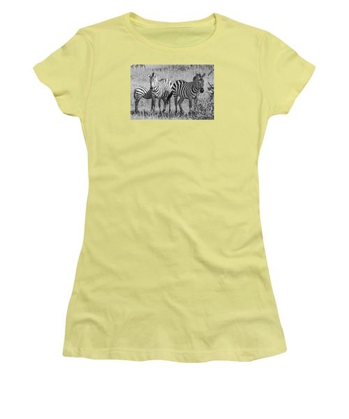Women's T-Shirt (Junior Cut) featuring the photograph Zebras In Thought by Pravine Chester