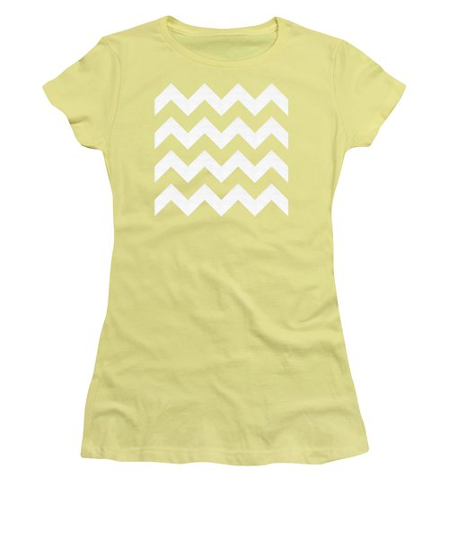 Women's T-Shirt (Junior Cut) featuring the digital art Zig Zag - White - Transparent by Chuck Staley