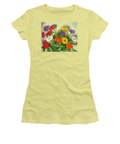 Women's T-Shirt (Junior Cut) featuring the painting Zinnias by Randol Burns