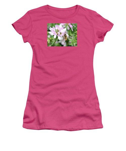 Honeybee On Crown Vetch Women's T-Shirt (Junior Cut) by Lucinda VanVleck
