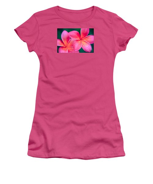 Aloha Hawaii Kalama O Nei Pink Tropical Plumeria Women's T-Shirt (Junior Cut) by Sharon Mau