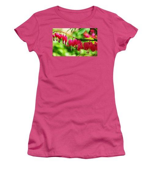 Romantic Bleeding Hearts Women's T-Shirt (Junior Cut) by Debbie Oppermann