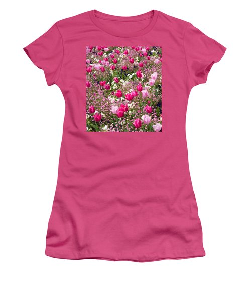 Colorful Pink Tulips And Other Flowers In Spring Women's T-Shirt (Junior Cut) by Matthias Hauser