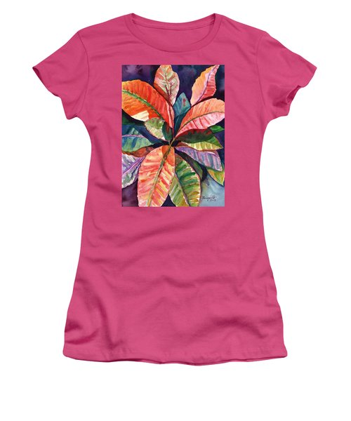 Colorful Tropical Leaves 1 Women's T-Shirt (Athletic Fit)