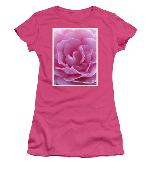 Dew Kissed Rose Women's T-Shirt (Junior Cut) by Sara  Raber