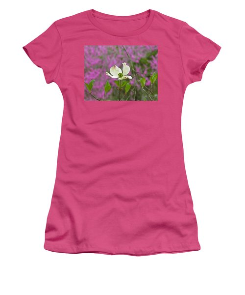 Dogwood Bloom Against A Redbud Women's T-Shirt (Athletic Fit)