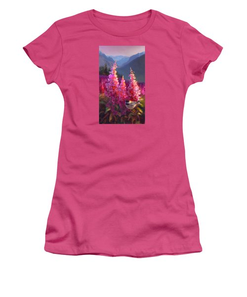 Eagle River Summer Chickadee And Fireweed Alaskan Landscape Women's T-Shirt (Athletic Fit)
