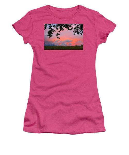 Women's T-Shirt (Junior Cut) featuring the photograph First October Sunset by Kathryn Meyer
