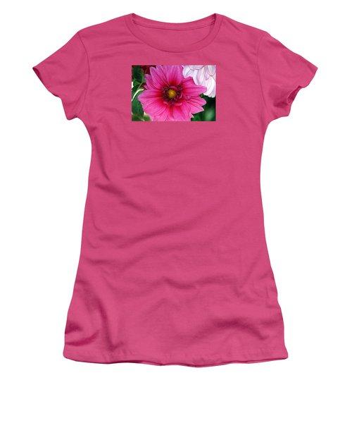 Women's T-Shirt (Junior Cut) featuring the photograph Fushia Pink Dahlia by Lehua Pekelo-Stearns
