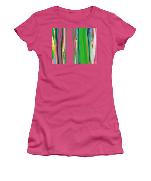 Women's T-Shirt (Junior Cut) featuring the painting Garden Stripes  C2014 by Paul Ashby