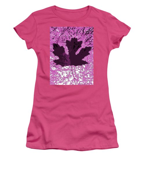 Maple Leaf Purple Pop Poster Hues  Women's T-Shirt (Athletic Fit)