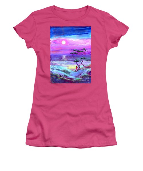 Moon Pathway,seascape Women's T-Shirt (Athletic Fit)