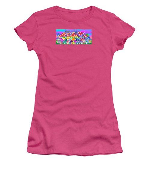Mushroom Meadow Frogs Women's T-Shirt (Athletic Fit)