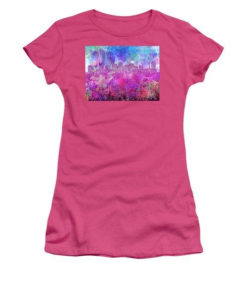 Nashville Skyline Watercolor Women's T-Shirt (Athletic Fit)