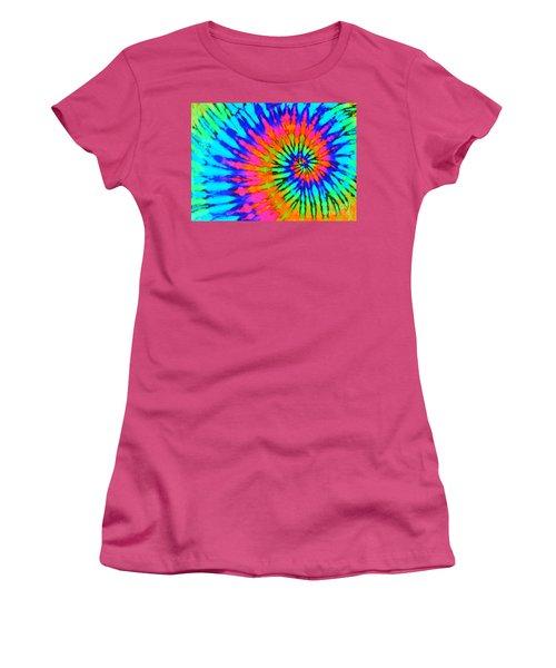 Orange Pink And Blue Tie Dye Spiral Women's T-Shirt (Junior Cut) by Catherine Sherman