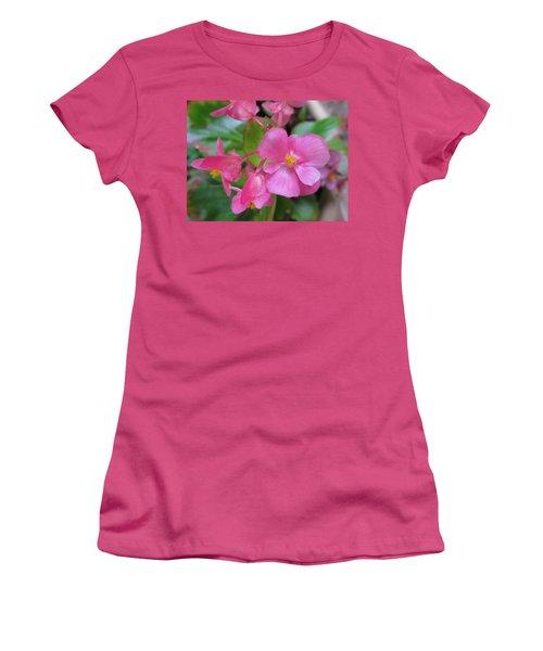 Pink Begonias Women's T-Shirt (Athletic Fit)
