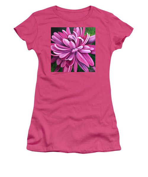 Pink Flower Fluff Women's T-Shirt (Athletic Fit)