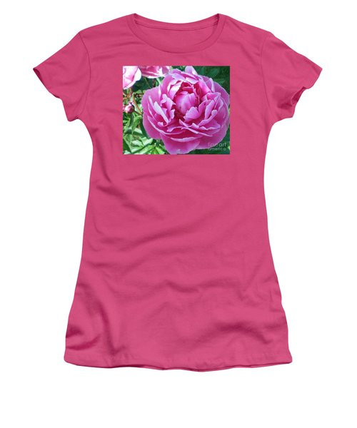 Women's T-Shirt (Junior Cut) featuring the photograph Pink Peony by Barbara Griffin