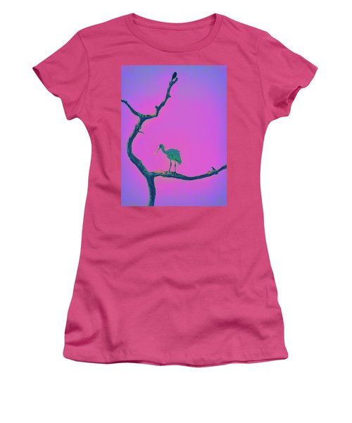 Women's T-Shirt (Junior Cut) featuring the painting Pink Spoonbill by David Mckinney