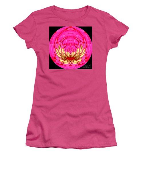 Women's T-Shirt (Junior Cut) featuring the photograph Pink Zinnia Polar Coordinate 2 by Rose Santuci-Sofranko